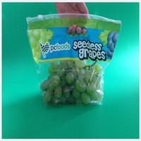 Plastic Custom Printed Ziplock Fruit Bag with Air Holes for Grape Packaging Bag