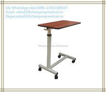 wooden over bed table with wheels/hospital dining table CY-H836A
