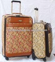 PU Fashional polo trolley travel luggage set suitcase bag