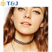S>>>Punk Retro Gothic Elastic Pendants Necklaces collares Vintage Stretch Tattoo Choker Necklace for women lady christmas gift/