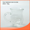 250ml Clear double wall glass cup with glass handle and lid