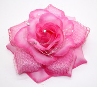 Deep Pink Large Flower Hair Clip With Rhinestone Center