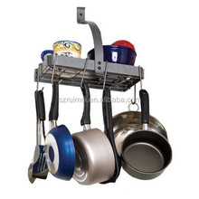 Small Shelf Pots Pans Hanger Wall Mounted Pot Rack Kitchen Storage Organizer