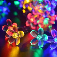 Solar Fairy String Lights 21ft 50 LED Multi-color Blossom Decorative Gardens, Lawn, Patio, Christmas Trees, Weddings, Parties, I