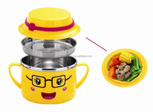 2015 latest product of china wholesale stainless steel kids rice dinnerware set