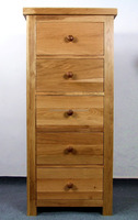 solid oak wood UK design 5 storage drawers cabinet chest of drawers
