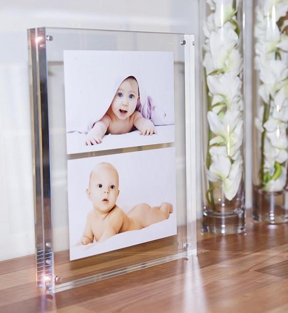 8x10 marco de fotos de vidrio de doble cara portafotos for Marcos vidrio para cuadros
