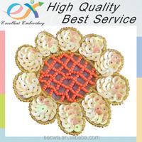 professionally custom beadededge iron-on embroidered sequin flower design