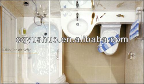 Marine yacht modulaire pr fabriqu e cabine sanitaire humide unit s avec baignoire salle de - Salle de bain prefabriquee ...