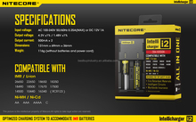 Authorized distributor nitecore i2 18650 battery charger nimh/nicd battery charger I2 I4/D4/D2 I2 charger