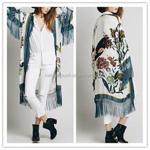 Casual kimono cardigan /fringed floral kimono