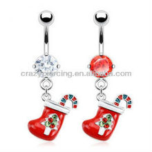 jeweled stocking 316L surgical steel body piercing belly button ring navel chain jewelry