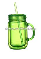 20 OZ Double wall Mason jar with handle Colorful plastic mug