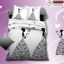 Wholesale brand new home decorative 3d polyester girl bedding set designs for printed bedsheet