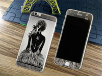 Front + Back 3D Pattern kin Sticker Cover Tempered Glass Screen Protector For Apple Iphone 5 6 6plus