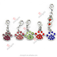 Rhinestone pave dog paw charms, dog paw dangles for floating charms locket necklace