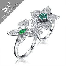 Colored Zircon Stones 925 Sterling Silver Finger Ring Diamond Ring