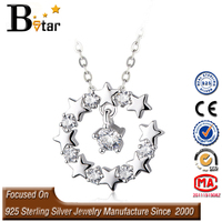 star shaped charm pendant, 925 sterling silver jewelry wholesale