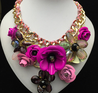 Lastets Fashion Handmade Multi Color Flower Crystal Statement Necklaces