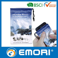 Low cost functional photo print drawstring pouch microfiber for smartphone