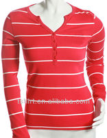 ladies red white striped long sleeve t shirt
