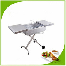 Movable shelf trolley BBQ Grill charcoal barbecue grill SUS suitcase grill