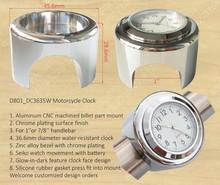 ATV Motorcycle Clock With Chrome Plating CNC Machined Aluminum Billet Parts Mount, Motorcycle Handlebar Clock
