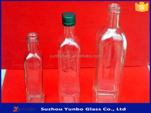 Top Quality Clear Square Bottles With Olive Oil Pourer for Oil Container for Kitchen Wholesale in Stock