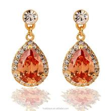 Drop shaped earrings with zircon fashion earrings 2015 New arrival Jewelry