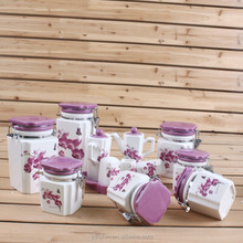 13 pcs Eco-friendly wholesale ceramic canister set,candy jar with butterfly design