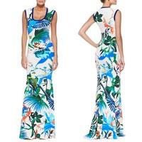 Top Grade New European America Fashion 2015 Summer Women Bohemian Print 100% Silk Jersey Plus Big Dress Beach Long Dress XXL