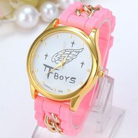 wholesale china watch fashion ladies fancy watches silicone with gold chain watch