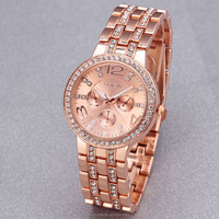 Luxury Rhinestone lady stainless steel watch geneva alloy vogue watch fashion