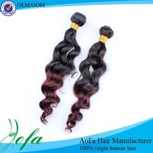 Hot sale ombre hair extension two colored cheap malaysian hair weaving/ hair weave