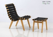 Triumph 2015 New desigh wood lounge chair/solid wood chair with Black rubber band seat/wood barcelona beach chair with footrest