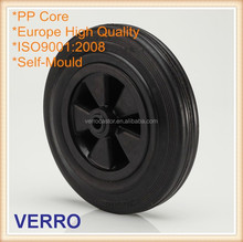 Single black rubber castor with PP core elastic performance and durable use abrasion resistance 160mm wheel diameter