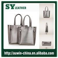 Gold China supplier women bag high quality genuine leather handbag OL office lady shopping bag