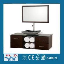Modern noble glass door wall mounted cheap bathroom set with side cabinet and light FS058