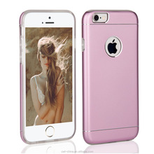New arrival Dual layer Aluminum TPU phone case for iphone 6 pink 4.7 inch