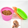 Pet food containers folding silicone dog bowl