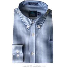 100% coton de carbone pêche tissu brodé chemise homme
