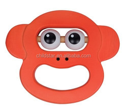 big eys monkey's baby squeak teether product made in china