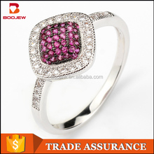 Factory 925 sterling silver women ring wholesale micropave Setting zircon ring with rhodium plating
