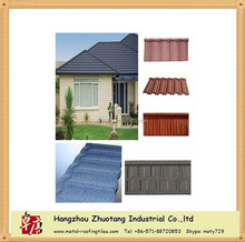 Light Weight 5 Types Metal Sheet Roofing Tile / European Polymer Sun Stone Coated Metal Roof Tile