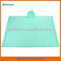 Waterproof green color plastic hooded rain cape in pouch