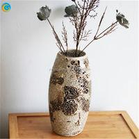 cheap green glass bottle vase for table flower arrangement;jade green cut mosaic glass vase