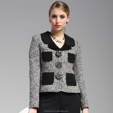 Short lady tweed jacket thick woman lapel jacket