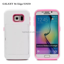 Hybrid Hard Case with ID Credit Card Slot Stand for Samsung Galaxy S6 edge