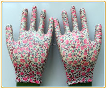 Top fit and high breathable printed nitrile garden gloves