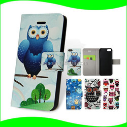 Unique Products Fashion Owl Pattern Flip Stand Card Slots Leather Mobile Phone Case for iPhone 5c